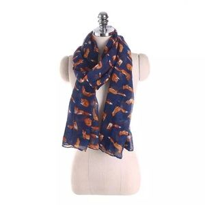 Royal Blue Summer Scarf with Orange Foxes